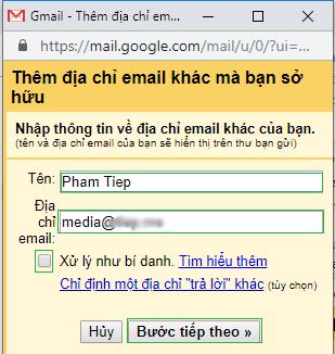 thêm mail tên miền vào gmail