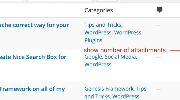 Cách thêm Cột và Hiển thị số lượng Attachments trong WordPress