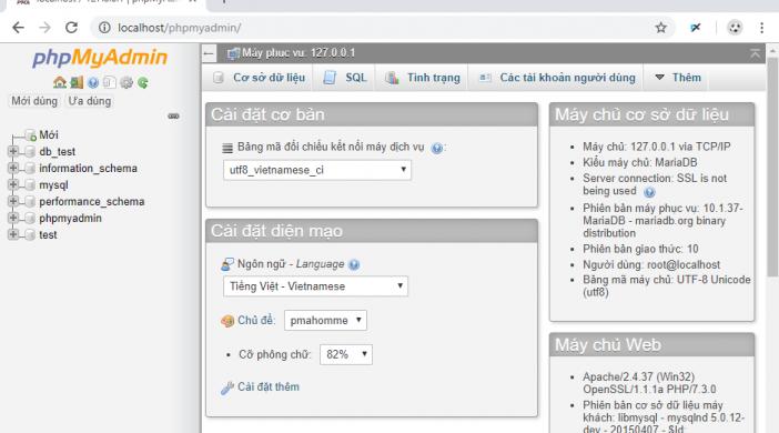 Tạo Database bằng phpMyAdmin