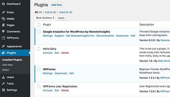 activeplugins