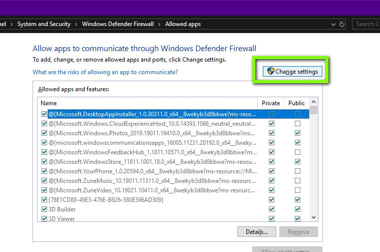 Cho phép RDP trong Windows Firewall